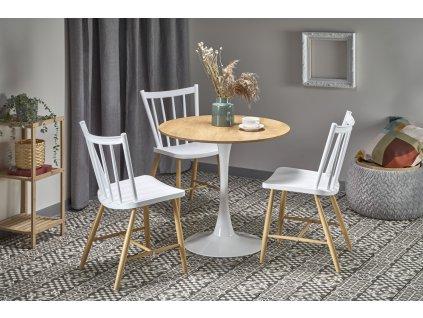 Sting stůl deska - přírodní, noha - bílá