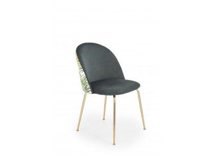 K372 židle tmavě zelená / zlatá