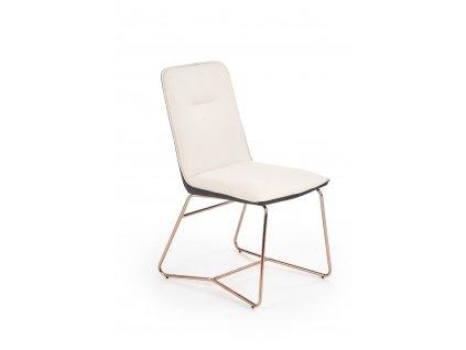 K390 židle krémová / tmavě šedá / zlatá