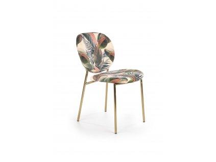 K398 židle čalounění - vícebarevné, kostra - zlatá