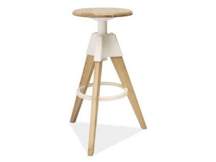 Barová židle BODO dub bělený/bílý