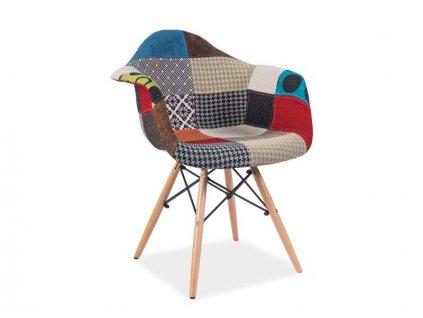 Židle DENIS A buk/patchwork
