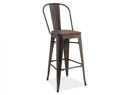 Barová židle LOFT H-1 tmavý ořech/antracit