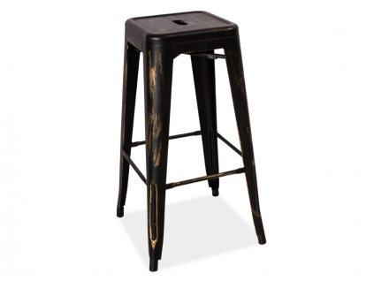 Barová židle LONG černá přetíraná