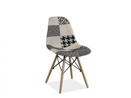 Židle SIMON B buk/patchwork