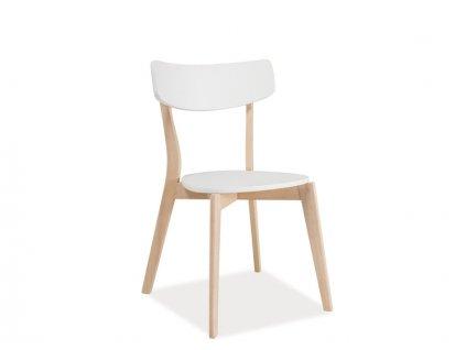 Židle TIBI dub bělený/bílá