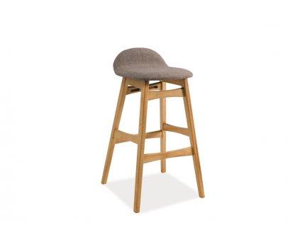 Židle barová TRENTO dub/šedá polstrování.40