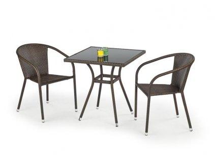 MOBIL stůl zahradní, barva: sklo - černé, ratan - tmavě hnědá