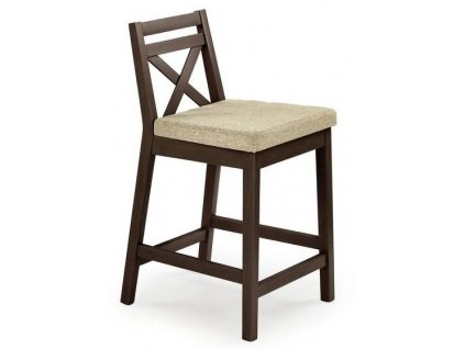 BORYS LOW židle barové nízké tmavý ořech / Polstrování: Vila 2