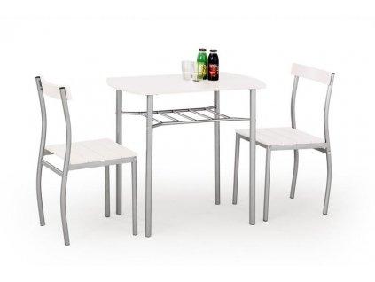 LANCE Sada: stůl + 2 židle, bílá