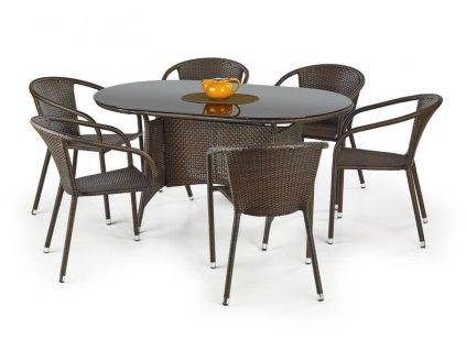 MASTER stůl zahradní, barva: sklo - černé, ratan - tmavě hnědá
