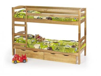 SAM - postel patrová s matracemi - olše
