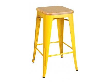 Barová židle TOWER WOOD 65 cm žlutá jasan/kov