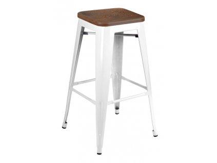 Barová židle TOWER WOOD 75 cm bílá sosna antická/kov