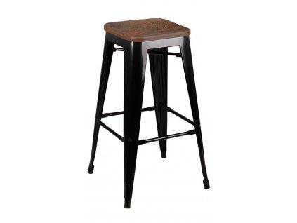 Barová židle TOWER WOOD 75 cm černá sosna antická/kov