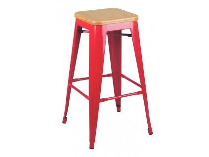 Barová židle TOWER WOOD 75 cm červená jasan/kov