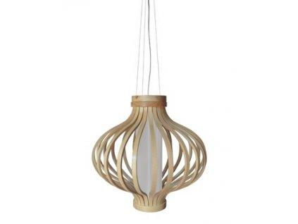 Lustr - lampa závěsná BAREL 38 dřevo/syntetická látka
