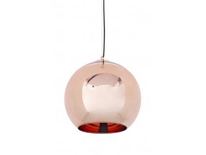 Lustr - lampa závěsná BOLLA 35 cm sklo měděné 35 cm