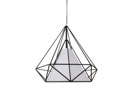 Lustr - lampa závěsná ORNAMENT 68 kov/černá/bílá stínidlo