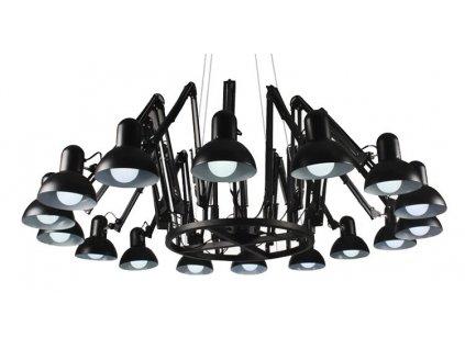 Lustr - lampa závěsná RAGNO 16 kov černá-bílá 16 ramem