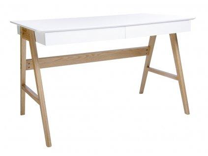 Psací stůl RIVA bílý mdf, dubové nohy