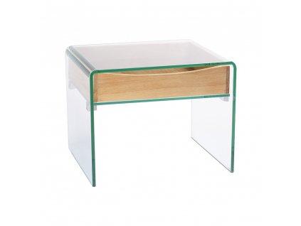Stolek skleněný CASSETTO sklo/dýha