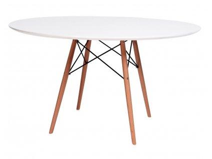 Stůl DSW * 120 - deska mdf bílý noha dřevěná