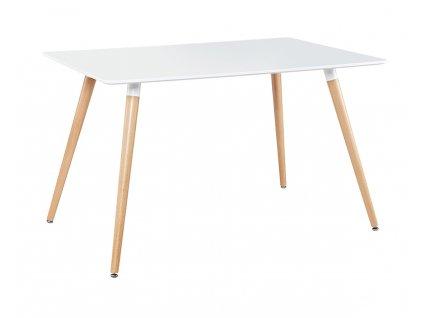 Stůl TARROS bílý mdf/bukové nohy