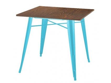 Stůl TOWER WOOD modrý deska sosna antická/kov