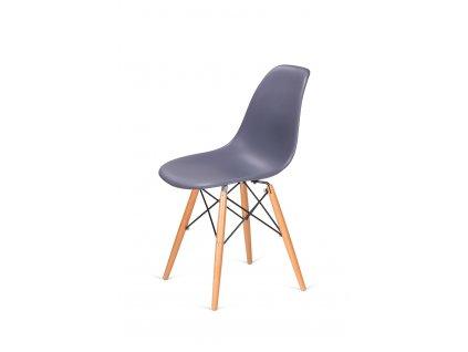 Židle 130-DPP tmavě šedá #04 PP + nohy bukové