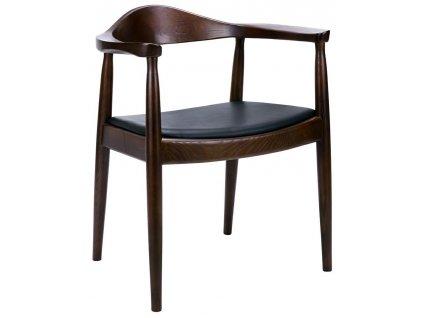 Židle STATE tmavě hnědá - dřevo jasan, koženka