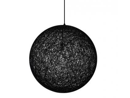 Lustr - lampa závěsná LUNA 110 černá - konopný provázek