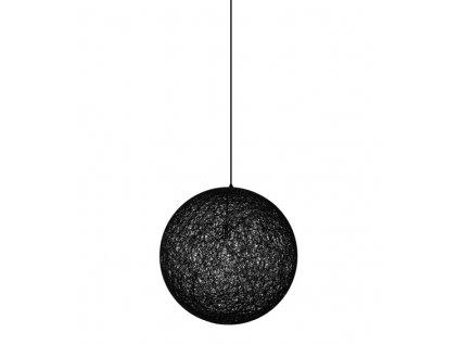 Lustr - lampa závěsná LUNA 40 černá - konopný provázek