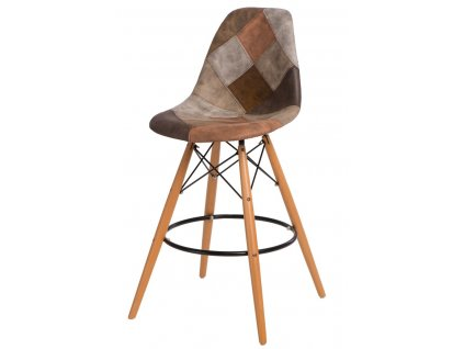 Barová židle P016V Patchwork hnědá