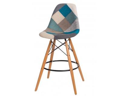 Barová židle P016V Patchwork modrá