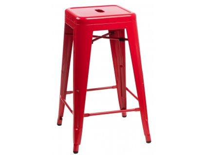 Barová židle Paris 75cm červená insp. Tolix