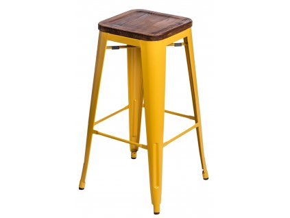 Barová židle PARIS WOOD 75cm žlutá sosna
