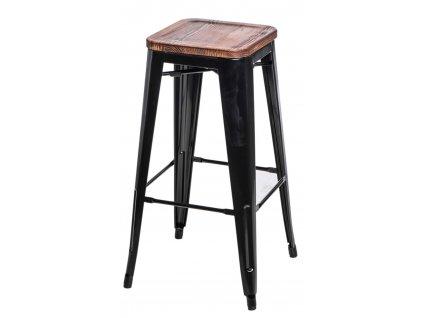 Barová židle PARIS WOOD 75cm černá sosna