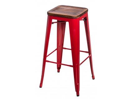 Barová židle PARIS WOOD 75cm červená sosna