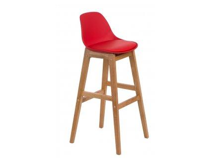 Barová židle Norden wood, červené sedátko