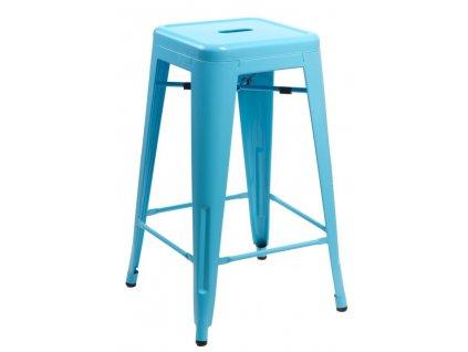 Barová židle Paris 66cm modrá inspirovaná Tolix