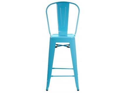 Barová židle Paris Back modrá inspirovaná Tolix