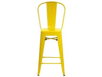 Barová židle Paris Back žlutá inspirovaná Tolix