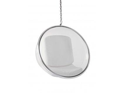 Křeslo Bublina transparent/bílý polštář