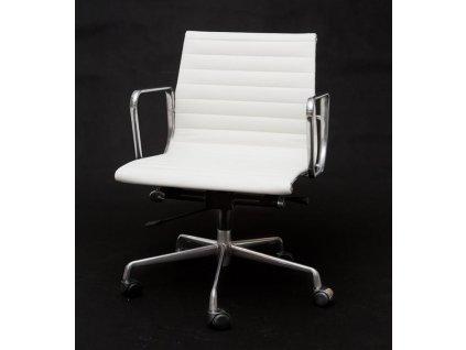 Křeslo kancelářské CH1171T bílá kůže,chrom