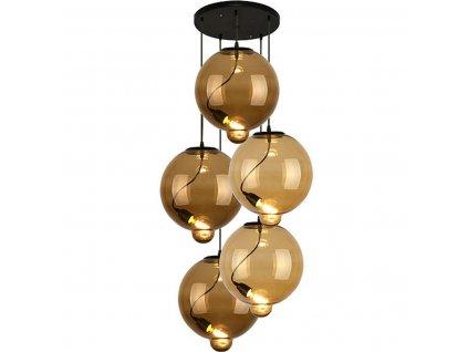 Lustr - Lampa závěsná Modern Sklo Buble CO hnědá/cognac