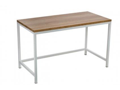 Psací stůl HOOPER 120x60 cm bílé profil 30m deska lakovaný dub přírodní