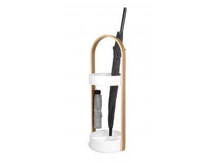 Stojan na deštníky HUB bílý/přírodní
