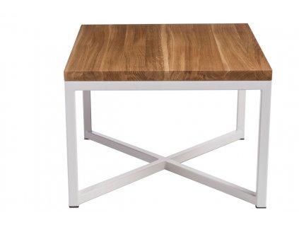 Stolek TACOMA 45x45 bílý profil 30 mm deska lakovaná dub přírodní