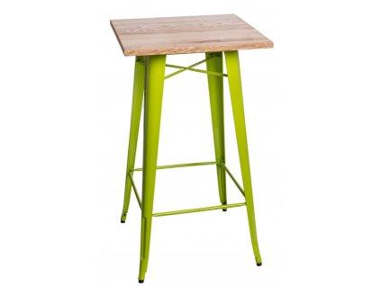 Stůl barový PARIS WOOD zelený jas. jasan